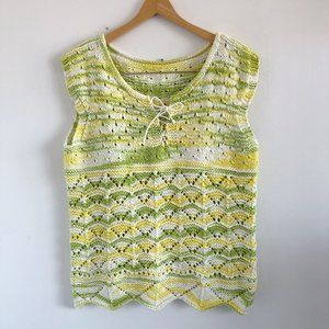 2/25 🍉 green and yellow knit sweater vest